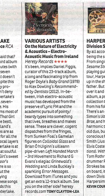 Irish Times Review of On The Nature Of Electricity & Acoustics