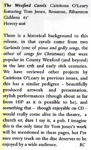 Early Music Today reviews THE WEXFORD CAROLS
