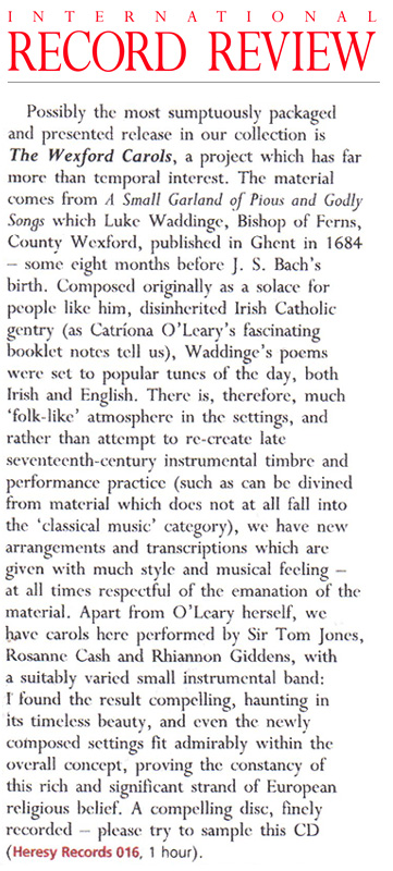 International Record Review reviews THE WEXFORD CAROLS